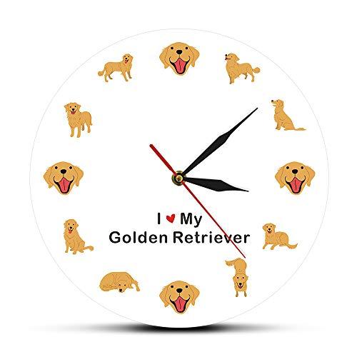 Relojes de pared Perro de espiar de 12 pulgadas Arte abstracto de la pared del perrito Decoración del hogar Perro del barro amasado que mira furtivamente en estilo hermoso y exquisito único Buen