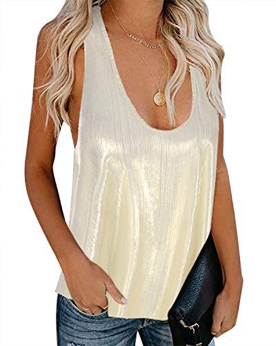 YOINS - Camiseta sin mangas para mujer, con cuello en V, sin mangas, con lentejuelas, sexy, holgada, para fiestas