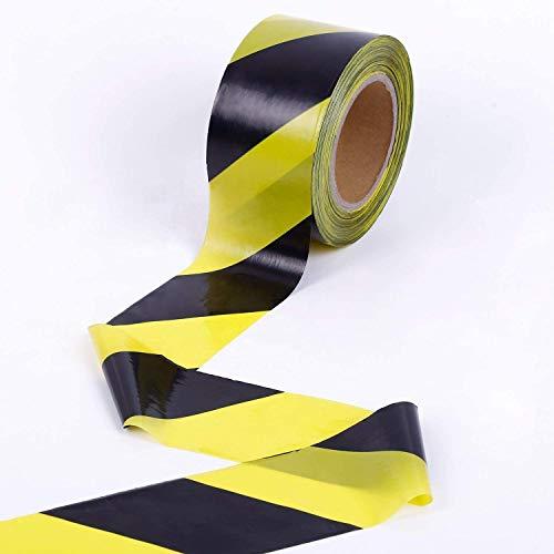 KINGPLAST Warning Tape - 2.8 Inch 660 feet Yellow Black Hazard Safety Striped Barricade Caution Tape No-adhesive for Quarantine Danger Construction Police Crime Scene