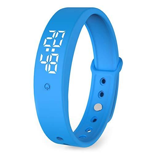 V9 Pulsera Inteligente Monitoreo de Temperatura Corporal Pantalla precisa Pantalla Inteligente Carga precisa Reloj de Pantalla de Temperatura Corporal preciso - Azul
