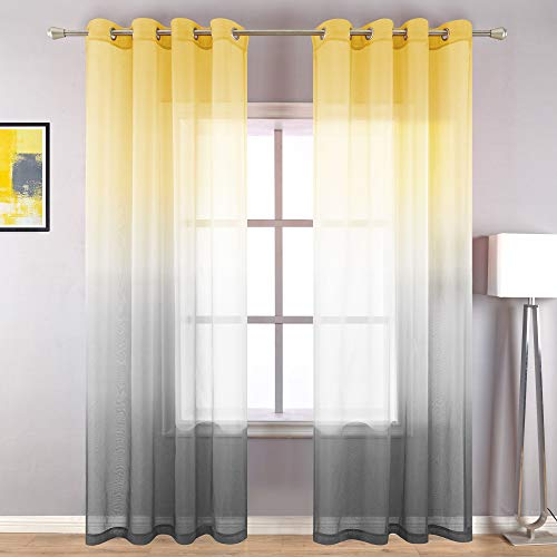 Bright Yellow and Gray Sheer Curtains 84 Inches Long for Living Room Set of 2 Panels Grommet Luxury Ombre Window Elegant Curtains for Dining Bedroom Decor 52 x 84 Inch Length Gradient Yellow and Grey