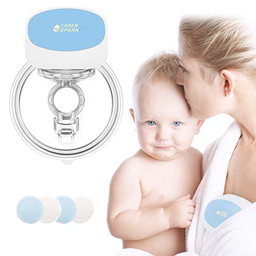Hands Free Wearable Breast Pump Electric Breast Pumps Portable Single Breastfeeding Breastpump with 2 Spill-Proof Cloth Cover, 5 Levels, 2 Mode, Rechargeable, Ultra-Quiet Pain Free Breast Pump