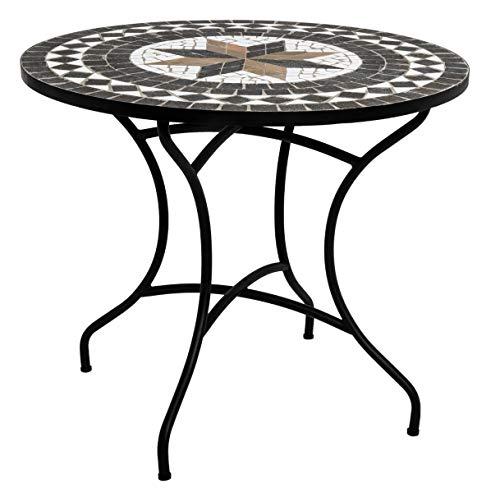 PEGANE Table de Repas Ronde en mosaique Coloris Noir - D. 90 x H. 75 cm