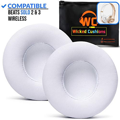 Wicked Cushions Premium Beats Solo 3 Earpad Replacement- Easy To install Cushions for Beats Solo 2 & 3 Wireless ON-EAR Headphones (NOT for Over-ear Beats STUDIO) | Adaptive Memory Foam & Soft Pleather