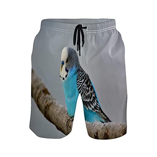 Mielpdaz Pantalones cortos de playa para hombre Budgie Nature Blue Bird Beach Board, 1 color, M