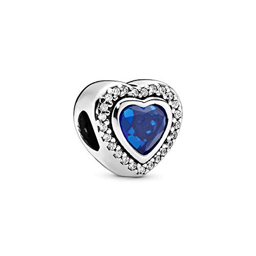 Heart silver charm with night blue crystal and clear cubic zirconia