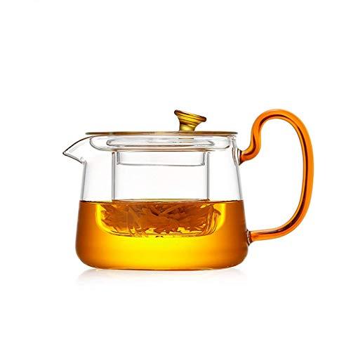 ZCC Tetera de cristal ámbar transparente grueso resistente a altas temperaturas, se puede calentar té tetera de varios tamaños, dorado, small
