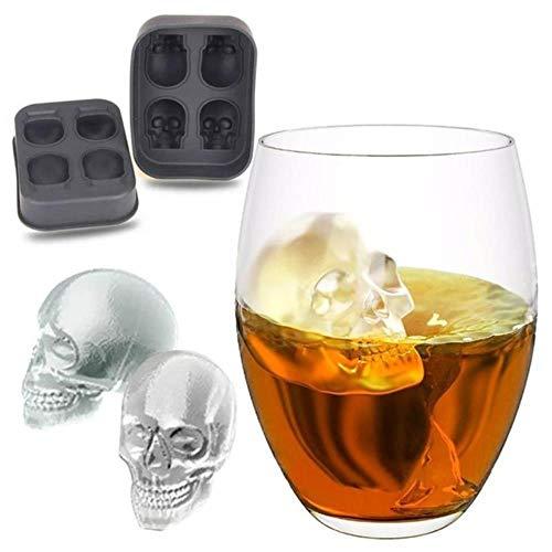 Cranio 3D Stampo in silicone Ice Cube Maker Vassoio per muffa al cioccolato Gelato Strumento fai da te Whisky Vino Cocktail Ice Cube I migliori venditori, Nero, Cina