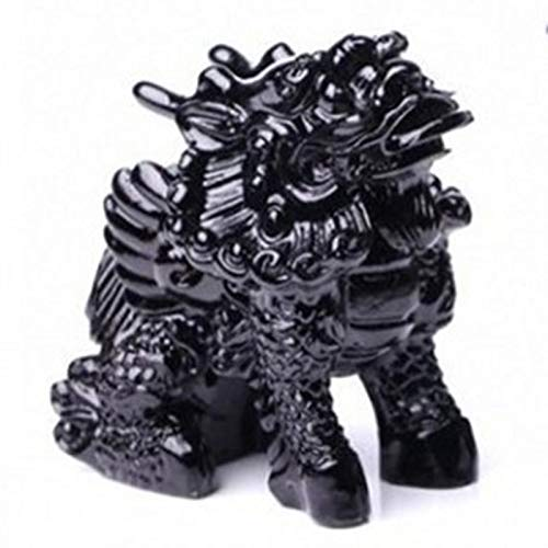 LHMYGHFDP Kirin Decoration Feng Shui Safe Black Obsidian Crystal Adornos para Autos Lucky Fortune Ward Off Evil Home Business Gift Sala de Estar Fortune Decoration Unicorn Send Son,A