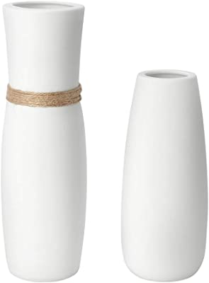 Betrome Minimalistic White Ceramic Vases Set of 2, Decorative Flower Vase for Home Decor Living Room, Office, Centerpieces,Table and Wedding - Ideal Present Choice