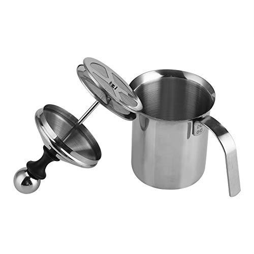 Hazmemejor Milchaufschäumer - Home Edelstahl Manuelle Milchaufschäumer Double Mesh Kaffee Cappuccino Foamer (400ML)