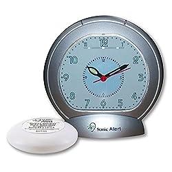Sonic Bomb Analog Alarm Clock with Bed Shaker, Silver - SBA475ss | Vibrating Alarm Clock Heavy Sleepers, Battery Backup | Wake with a Shake