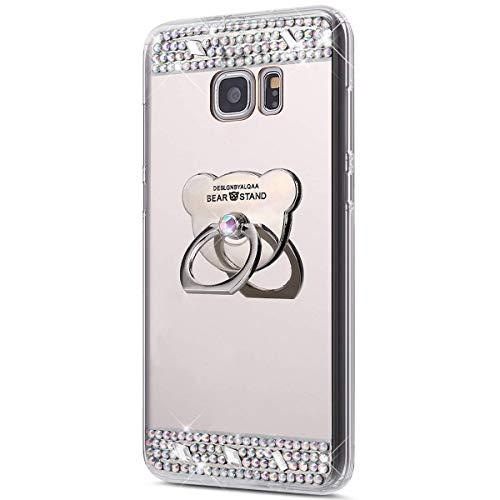 Urhause Kompatibel mit Samsung Galaxy S6 hülle,Spiegel Glitzer Hülle mit Bärenform Ring Strass Diamant TPU Silikon Transparent Schutzhülle Backcover Handyhülle 360 Grad Ring Case Holder hülle,Silber