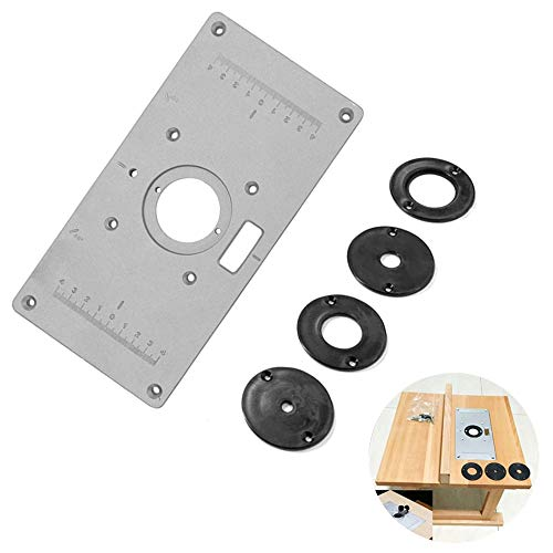 Router Table Insert Plate Aluminium Alloy Wood Router Trimmer Engraving Machine Flip Board with 4 Rings for Woodworking Benches Flip Chipboard (235 x 120 x 8 mm)
