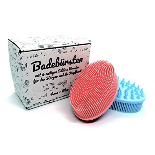 VIELMARKT 2 Stück Badebürste mit 2-seitigen Silikon Borsten für den Körper und die Kopfhaut Duschbürste Körperbürste Haarbürste Duschschwamm Badeschwamm Kopfmassagegerät Massagebürste Rosa & Blau