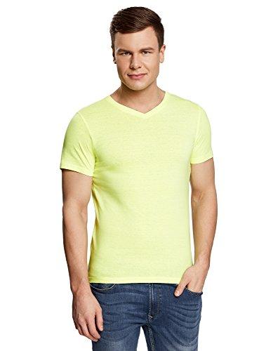 oodji Ultra Hombre Camiseta Básica con Escote en V, Amarillo, ES 58-60 / XXL