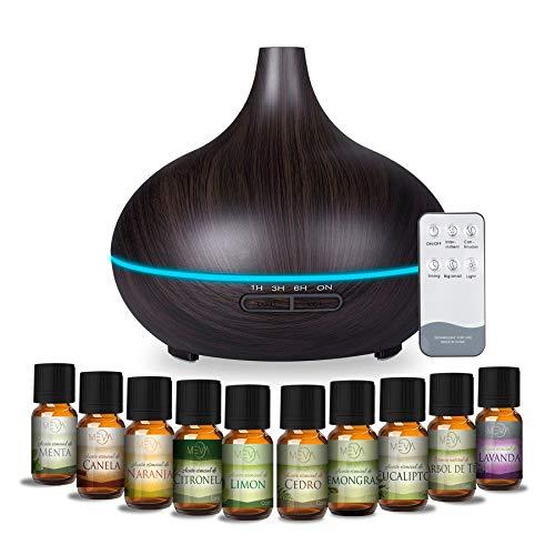 MEVA Difusor de aceites esenciales Humidificador Ultrasónico 500ml para Aromaterapia y purificador de aire con 7 colores Led y control remoto en acabados tipo madera (MDERA CHOCOLATE)