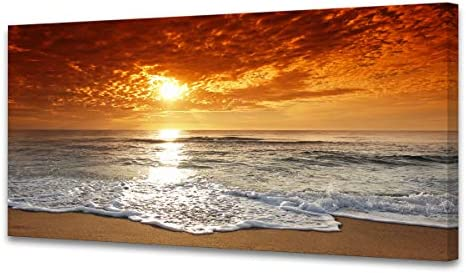 Muolunna S04662 Canvas Prints Wall Art Sunset Ocean Beach Pictures Photo Paintings for Living product image