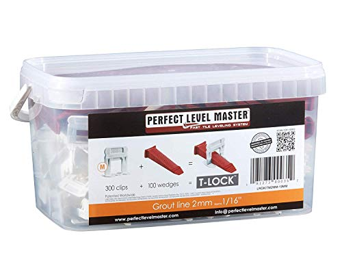 """1/16"""" T-Lock ™ Complete KIT Anti lippage Tile leveling system by PERFECT LEVEL MASTER ™ 300 spacers & 100 wedges in handy bucket ! Tlock"""