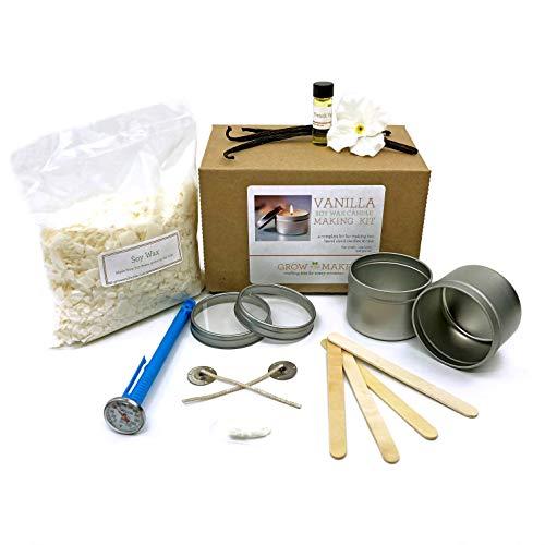 Grow and Make DIY Vanilla Soy Wax Candle Making Kit - Make Your own Candles at Home!