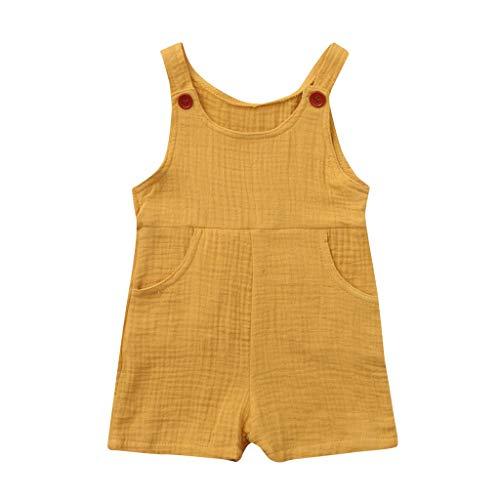 JUTOO Sommer Kleinkind Neugeborenen Kinder Baby Jungen Mädchen Einfarbig Spielanzug Overall Kleidung (Gelb 1,90)