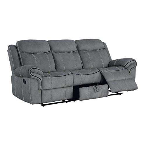 Reclining Sofa, HABITRIO Solid Wood Frame&Grey Velvet Upholstered 3-Seat Recliner Couch w/Back&Seat Cushion, Drop-Down Table w/USB Charging Dock, Middle Storage Drawer, Furniture for Living Room