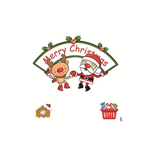 Adesivi murali rossi |2019 Nuovo negozio Frigorifero Pupazzo di neve Babbo Natale Regali SnowFlake Albero di Natale Decorazioni per adesivi murali per adesivi per la casa-05-