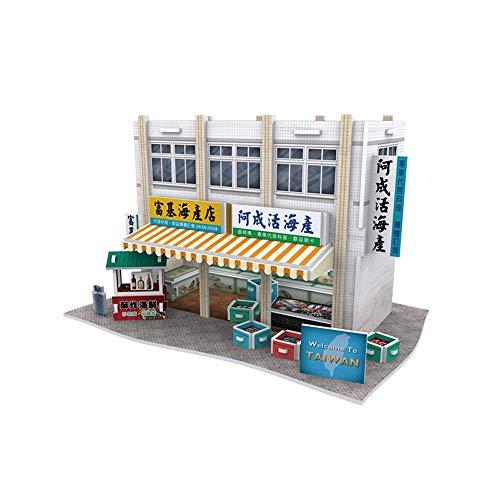 LKITYGF Perfekt 3D-Puzzle-Puzzle-Papierhandwerk DIY Fuji-Fischereihafen, Taiwan-Gebäude-Modell-Kit-Geschenkspielzeug-Dekoration für Erwachsene und Kinder-40 Stück B