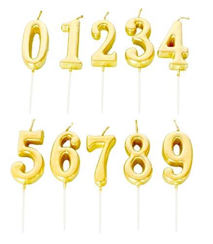 金 ゴールド お誕生日キャンドル キャンドル バースデイ 0~9 (各数字1個セット(計10個セット))