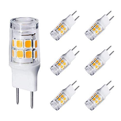 G8 LED Bulb Dimmable, 20-25W T4 JCD Type G8 Base Halogens Replacement, 120V Mini Bi-Pin LED Puck Light Bulbs for Under Cabinet, Under Counter Light, GE Microwave Oven, Warm White 3000K (6 Pack)