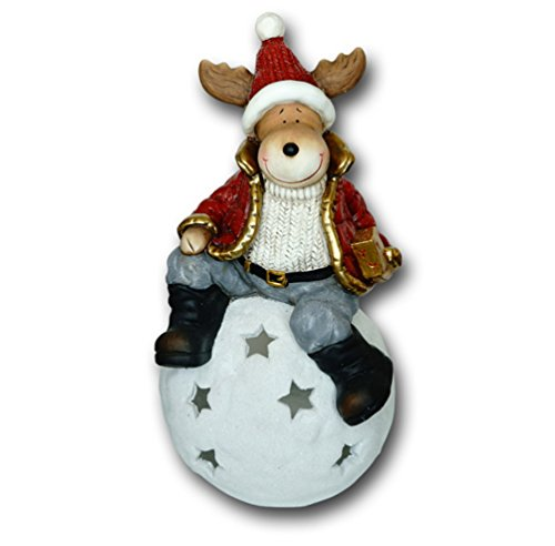 Elch auf Windlicht Kugel Hirsch REH Rentier Weihnachts Deko Tier Figur Artikel