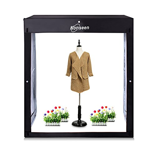 """Professional 47""""x20""""x55"""" Photo LED Large Cube Shooting Tents Photography Continuous Lighting Flashery Video Studio Dimmable Lightbox Softbox with 3 Colors PVC Backdrops and Carrying Bag"""