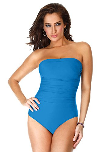 Miraclesuit Women's Swimwear Solid Avanti Bandeau Underwire Bra One Piece Swimsuit with Removable Straps, Peacock, 16