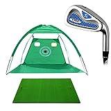 Golf Mat Set Green Golf Net Practice Chipping Nets Portable Driving, Chipping Cage Club Golf Mat Golf Set,...