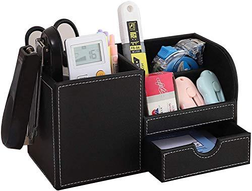 YCOCO - Portapenne da ufficio, per scrivania, in pelle PU, organizer per cancelleria, organizer per TV, con 1 cassetto, colore: nero