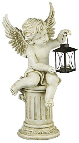 A.G.S. Deko Gartenfigur Gartenengel auf Säule Engel mit Laterne Angel Grabengel Figur