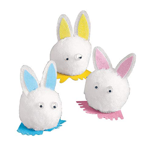 Pom Pom Bunny Critters (Bulk 72 Pieces) Easter Decor and Crafts for Kids