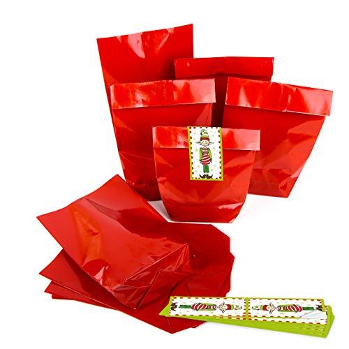 Navidad del paquete bolsa de papel Navidad Bolsa Rojo Brillante 14x 22x 5,5+ duende de la Navidad–pegatinas del...
