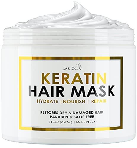Keratin Hair Mask - Repairs Dry & Damaged Hair - Professional Keratin Hair Treatment with Avocado Oil - Aloe Vera - Vitamin E - Made in Usa- Effective Keratin Complex - Anti Frizz