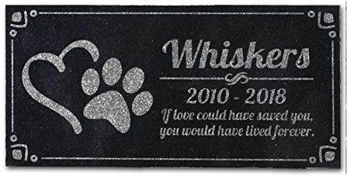 Pet Grave Marker Memorial Personalized Dog Paw Heart Pet Headstones Custom Engraved Absolute Black Granite Garden Plaque Engraved with Dog Cat Name Dates