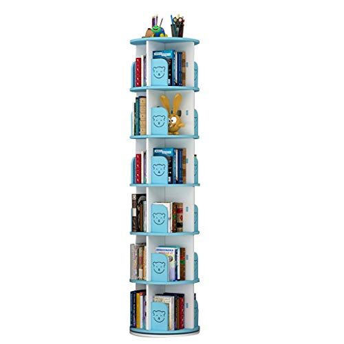 Librerie Girevole a 360 Bambini Scaffale da Terra di Grande capacità Coltiva l'interesse dei Bambini per la Lettura (Color : Blue, Size : 6 Layers(43 * 190cm))