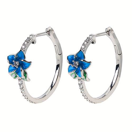 Xzbnwuviei 2020 nuevo elegante esmalte femenino floral circón pendientes azul flor aro pendientes mujeres moda Jewerly