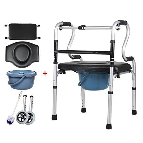 Ayudas para discapacitados Marco Zimmer, silla de ducha con inodoro portátil de aluminio Walker con ruedas Asiento y tapa estilo inodoro, marcos combinados de silla combinada con ruedas for discapacit