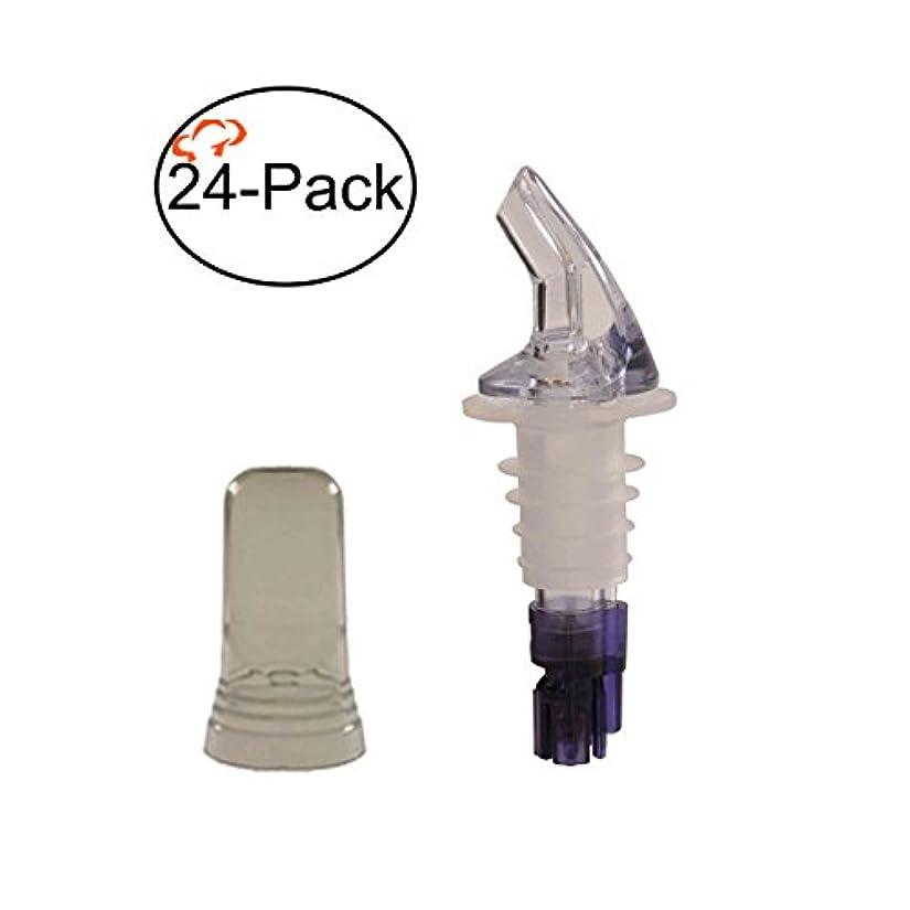 夫婦コテージ占める(24, 30ml) - Tiger Chef 24-Pack Plastic Measured Liquor Pourer without Collar, 30ml Purple, Precision Wine Bottle Pour Spout with Pourer Dust Covers