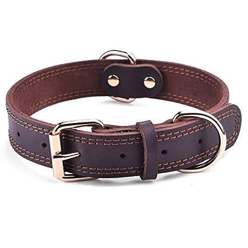 SLZZ Hundehalsband aus Leder - Geeignet für große Hunde mit einer Halslänge von 50 cm bis 60 cm