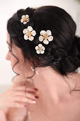 FXmimior Lot de 5 magnifiques épingles florales dorées avec strass pour femme et fille Doré 14 carats