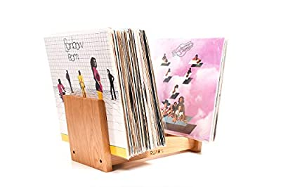 """Ruach Vinyl Holder and Display for Records Wooden - Natural 100% Cherry Hardwood - Fits 12"""" LPs and 7"""" Singles"""