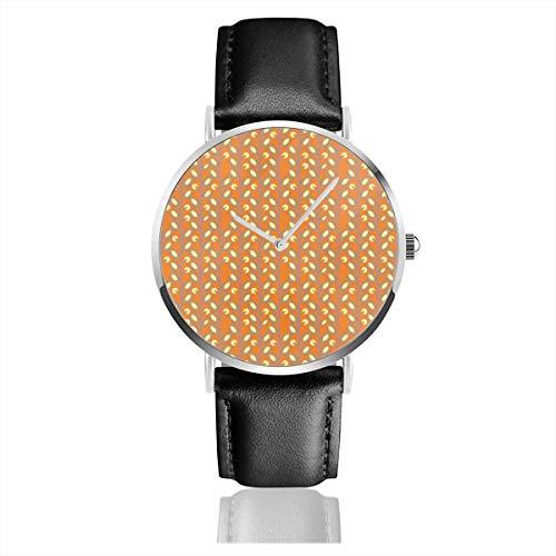 Armbanduhr Quarzuhr Mod Flower Orange S Freizeituhren mit schwarzer Lederuhr