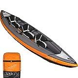 YUESFZ Kayaks y piraguas de mar Kayak Hinchable Alta Presion Bote Inflable De Ocio Al Aire Libre Tabla De Surf Resistente Al Desgaste Engrosada Canoa De Aventura Marina (Color : Orange-3 People)