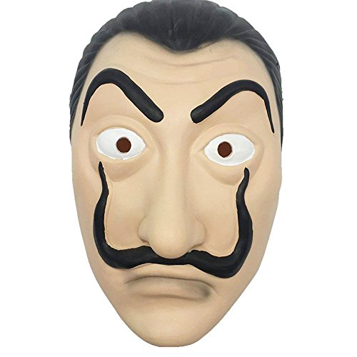 MIMINUO Dali Maske Latex Maske Salvador Dali Gesichtsmaske La Casa De Papel Wimperntusche Realistische Prop Gesichtsmaske Neuheit Cosplay Kostüm Party Maske